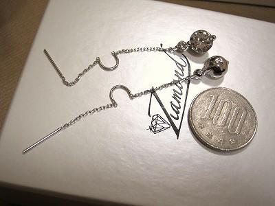 100円玉と共に…:ショップチャンネルのジアモンド:シルバーダブルダイヤモンドカットCZピアス