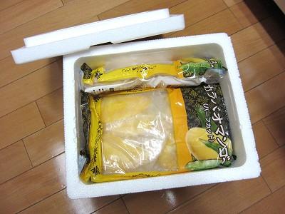 発泡スチロール梱包:ショップチャンネルで買った冷凍カラバオマンゴー