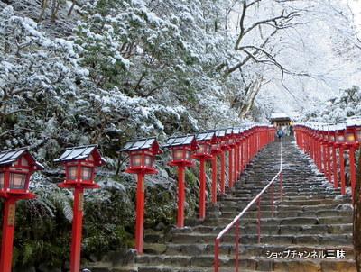 京都貴船神社の雪景色