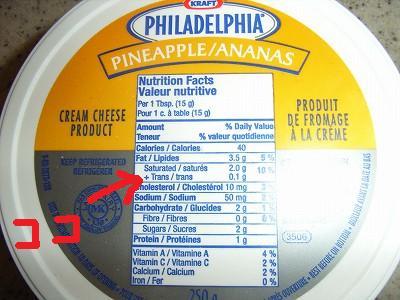 トランス脂肪酸(クリームチーズ)