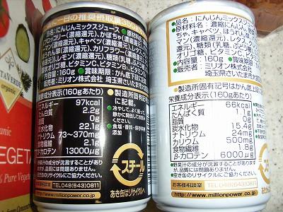 ミリオンの野菜ジュース栄養成分表示・原材料